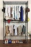 Homdox Kleiderstange Kleiderständer Kleiderschrank Garderobenständer mit Rollen Faltschrank Metall L120 x W45 x H205cm,Schwarz