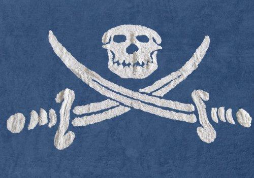 Aratextil Bandera Pirata Alfombra Infantil, Algodón, Marino, 120x160 cm