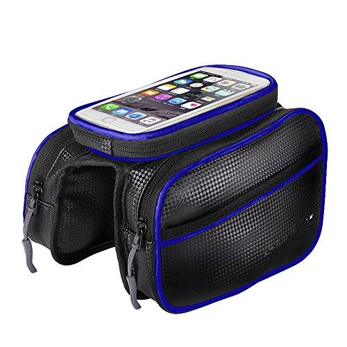 LWJgsa Mountainbike Tasche Touchscreen Handy Tasche Wasserdichte Tasche Auf Armaturen Black and blue