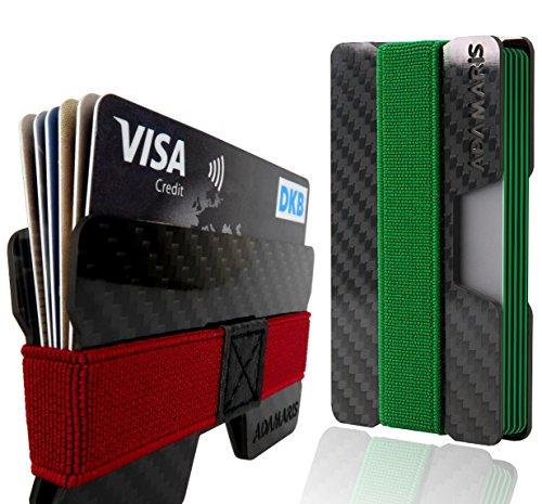 Premium Kreditkartenetui aus Carbon | Kartenetui Herren by ADAMARIS | edles Slim Wallet mit RFID/NFC Schutz| bis zu 16 Karten | MINIMALIST WALLET mit 4 Bändern als Geldklammer | Geldbörse für Damen