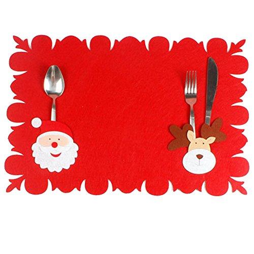 sudook 2PC Santa Claus Kostüm Tisch Matte Muster Dinner Party Messer Gabel Tischset Weihnachten Dekoration für Home Party oder Bar color1