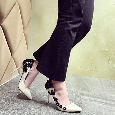 LvYuan Da donna Sandali Comoda PU (Poliuretano) Estate Comoda A stiletto Nero Tessuto almond 12 cm e oltre almond