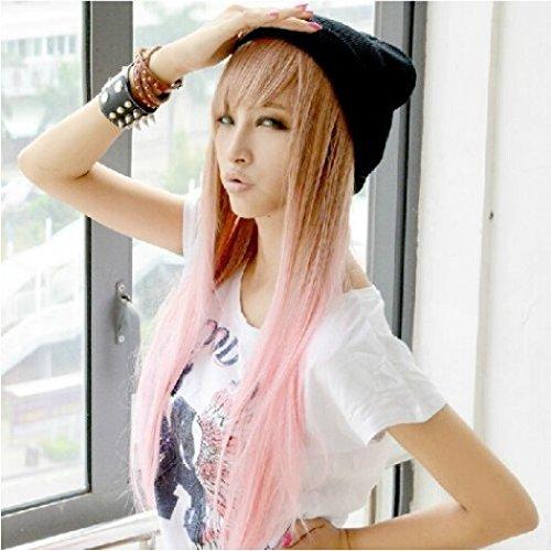 ecloud-shopr-madchens-zwei-ton-lange-gerade-hohepunkte-haar-perucken-rosa