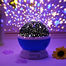 Carecroft Star Moon Master 360 Degree Sky Rotating Cosmos Colour Changing 8 Colours 4 LED Heads Light Projector Lamp (Multicolour, St-kid-l)