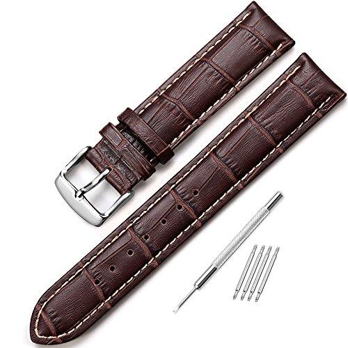 iStrap 22mm Cuero Genuino Correa del Reloj Pulsera de Reloj Hebilla del Reloj Acero Inoxidable Watch Band Strap Marrón café Costura