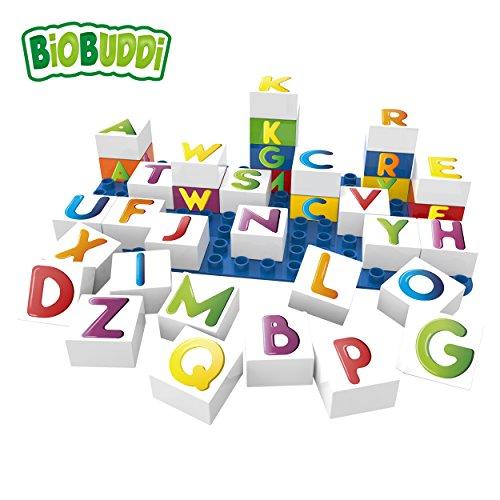 BiOBUDDi BB-0005 Lernbausteine Buchstaben; biologische Bausteine Zum Stecken Kompatibel zu Anderen Marken; Hergestellt aus Bio-Kunststoff; mit Grundplatte; Besonders Umweltfreundlich; ab 1,5 Jahren
