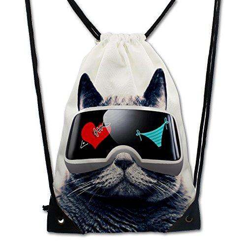 WOSON® Unisex Kordelzug Turnbeutel Sportbeutel Gymsack Rucksack Doppelseitig Print Persönlichkeite Space Cat (VR Katze) (Handtasche Drawstring Satin)