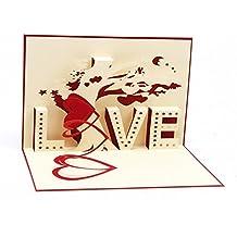 medigy 3D pop up carte de vœux pour ST VALENTIN, amoureux, couple, de mariage, datant, anniversaire Arbre (Love) rouge