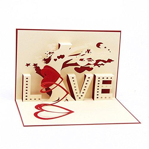 """Medigy biglietto d'auguri pop up, con scritta """"love"""" e albero in 3d, per san valentino, fidanzamento, matrimonio, appuntamento, anniversario rot"""