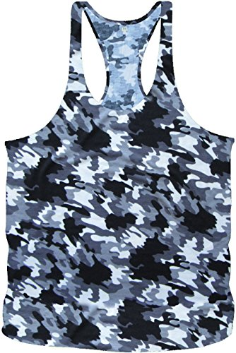Bodybuilding Army Camouflage Stringer Tanktop Fitness Muskel Muscle Shirt Vest in 6 Farben (L, Black White Army)