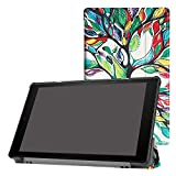Fire HD 10.1 Inch Slim Shell Case,Mama Mouth Ultra Lightweight PU Leather Standing Cover For All-New Amazon Fire HD 10 Tablet (7th Generation, 2017 Release) Tablet PC,Love Tree