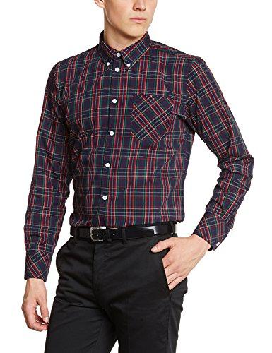 Merc of London 1509214002 - Camisa casual de manga larga para hombre, color azul marino, talla X-Large