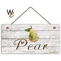 BridgetWhy50 - Señal de pera para jardín, decoración rústica, Madera Envejecida, 12,