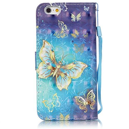 Custodia per iPhone 5, iPhone 5S, iPhone SE Custodia, con protezione per lo schermo in vetro temperato], fatcatparadise (TM) [Cavalletto] antigraffio Cover posteriore morbida in silicone, Colorful 3d  Gold Butterfly