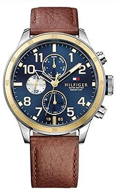 Tommy Hilfiger 1791137 - Reloj de pulsera hombre, Cuero, color Marrón