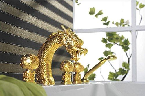 Drache-wasser-brunnen (Galvanik Retro Wasserhahn Kostenloser Versand Gold Farbe 5 Stück weit verbreitete Dragon Pattern Badezimmer Badewanne Armatur Wasserfall Whirlpool Drache Hahn LB-69 eine 018-5, Gelb)