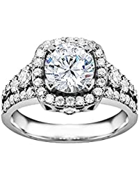 Silvernshine 1.3 Ct D/VVS1 Round Cut Diamond Solitaire Engagement Ring 14k White Gold Plated