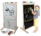 woodienchen - Große Standtafel Whiteboard mit Rechenschieber Accessoires Set, 109x66x60cm, Natur