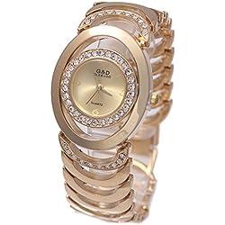Sheli Women's Small Rose Gold Stainless Steel Quartz Round Bangle Watch, 25mm