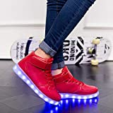 SUCES Unisex Sneaker, Damen Mode LED Leucht Schuhe Frauen Licht Sole High...