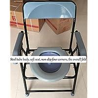 SCZLSYL Para el anciano commode dedicado Las mujeres embarazadas doblar el inodoro Taburete de inodoro con discapacidad Aseo móvil del hogar