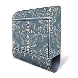 Design Briefkasten mit Zeitungsfach, Designer Motivbriefkasten mit Zeitungsrolle kaufen, für A4 Post, groß, bunt, Briefkastenschloss 2 Schlüssel, von banjado Motiv Royal Creme Blau
