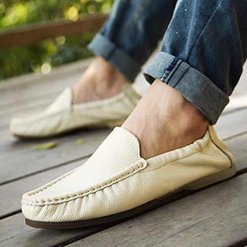 AIMENGA Mode Freizeitschuhe Frühling und Herbst Pu Driving Männer Schuhe Pu Ei Rolle Schuhe Mode Freizeitschuhe Herrenschuhe, Weiß, 41