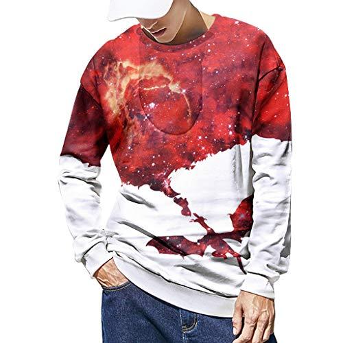 Xmiral Sweatshirt Herren 3D Drucken Lange Ärmel Sportbekleidung mit Rundhals Herbst Outdoor Tops Sports Pullover Oberbekleidung(Rot,XL) - Arizona Jean Leder-jacke