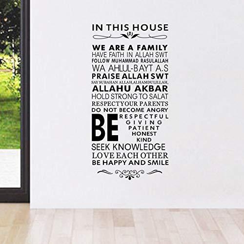 jiushizq In diesem Haus Regeln Wandaufkleber Steuern Dekor Wohnzimmer Lange Text Wandtattoos Vinyl Abnehmbare Kunstwand 44 cm X 89 cm (Schwarzer Transformers-emblem)
