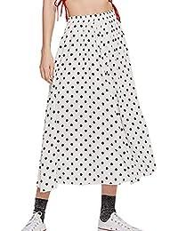 21d1650c44 Primavera Otoño Mujeres Polk Falda Joven Moda Cintura Alta Midi Faldas de  Playa Elegantes Plisado Skirts