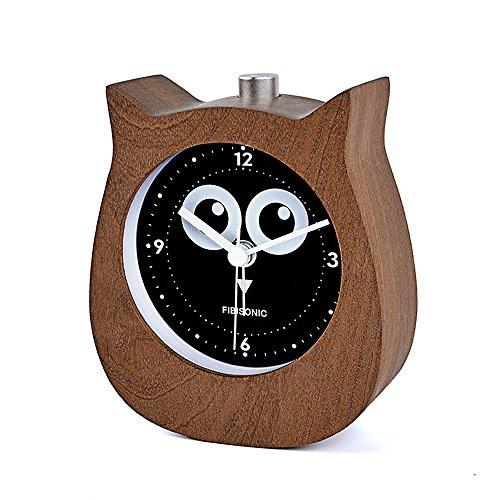 FIBISONIC Kleiner Wecker Holz Tischuhr Stille Runde Digital Tisch Walnuß (Hats Eule)