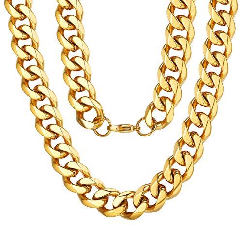 ChainsPro Edelstahl Herrn Ketten Panzerkette Für Männer Silber/Schwarz/18K Gold Halskette,Ketten Breite 12mm,Verschiedene Längen 40-76cm Edelstahl Ketten Für Männer