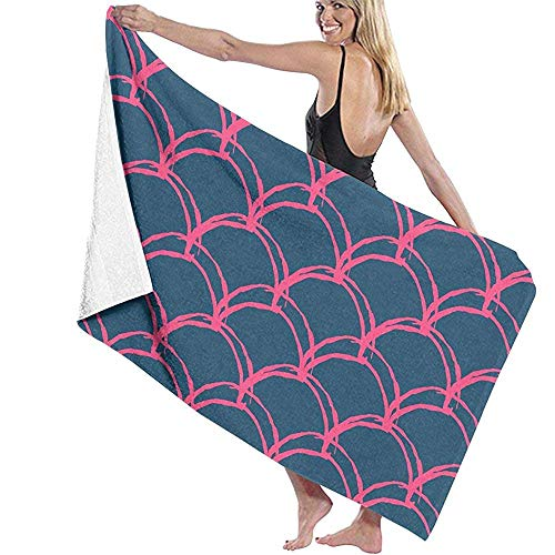 tyui7 Damen Badetuch Wrap - Rosa Meerjungfrau Reise Waffel Spa Quick Dry Strandtuch Wrap für Mädchen, 80x130 cm -