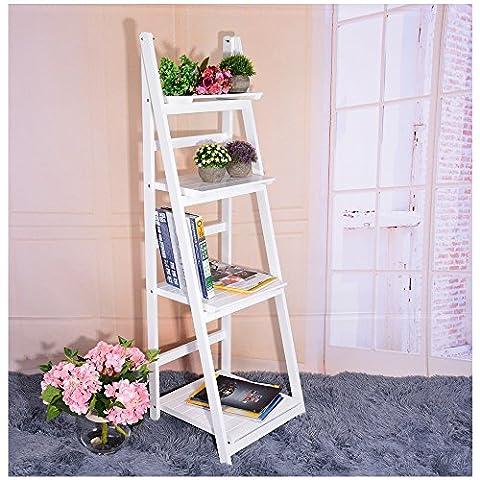Anaelle Pandamoto Étagère Style Échelle Bibliothèque Rangement Livre Fleur 4