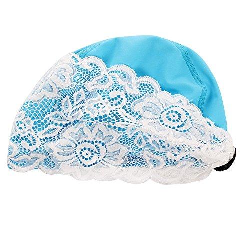 ZLJ Damen Badekappe, Erwachsene Länge Wasserdichte PU Lace Flower Badekappe für Lange Haare und Hält Das Haar Trocken ¡, Blau, Einheitsgröße