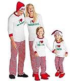 LvRao Sleepwear Pajamas Famiglia Genitori Bambini Costume di Natale Santa Sleepwear (Lettera Stampa #Bebè Ragazze, 3T)