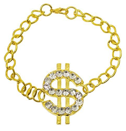 Armband mit Dollar Zeichen und Strass - Gold - Glitzer Schmuck zu Ihrem Disco Rapper Hip Hop 70er und 80er Jahre Kostüm zu Fasching und Mottoparty