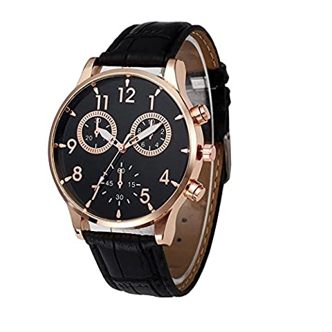 FALAIDUO Mens Luxury Leather Band Analogue Quartz Watches Men Casual Business Classic Simple Design Fashion Dress Wrist Watch Black Dial