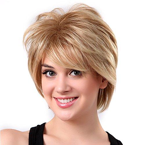 perfk Damen natürlich Echthaar Kurze Perücken aus Menschliche haare Perücken (Menschliche Haare Perücken)