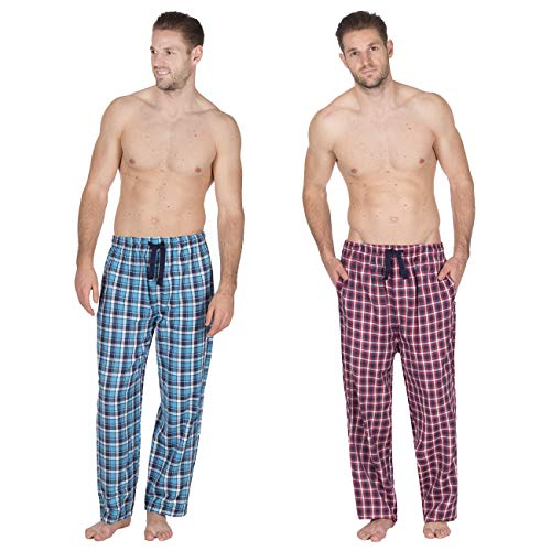 Jason Jones Herren Pyjamahose gewebt kariert - Baumwollmischung Twill PJ Lounge Pants Gr. XL, Multibuy (Both Sets) -