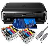 Canon Pixma iP7250 Tintenstrahldrucker mit WLAN Auto Duplex Druck (9600x2400 dpi, USB) + USB Kabel & 10 Youprint Tintenpatronen DRUCKER OHNE SCANNER OHNE KOPIERER Originalpatronen nicht enthalten