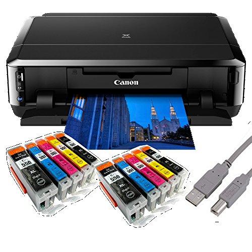 Canon Pixma iP7250 Tintenstrahldrucker mit WLAN Auto Duplex Druck (9600x2400 DPI, USB) + USB Kabel & 10 Youprint Tintenpatronen DRUCKER OHNE Scanner OHNE KOPIERER Originalpatronen Nicht enthalten -