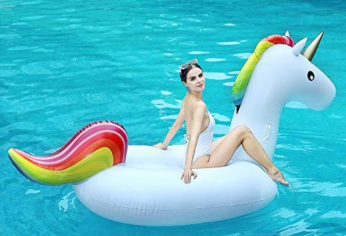 Unicorno gigante gonfiabile, galleggiante piscina piscina gonfiabile giocattolo di galleggiante gonfiabili con valvole rapide 100 pollici 255cm