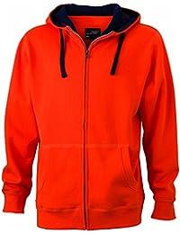 JAMES & NICHOLSON - sweat-shirt à capuche contrasté - ouverture zippée - veste - JN963 - homme