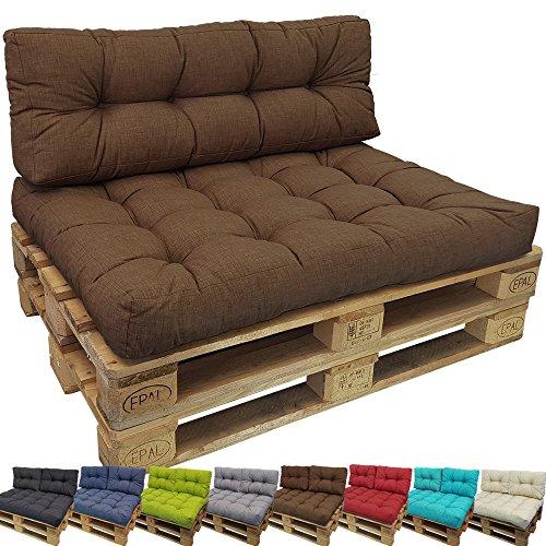 PROHEIM Outdoor Palettenkissen Lounge Palettensofa Indoor/Outdoor schmutz- und Wasserabweisende Palettenauflage Palettenpolster für Europaletten, Farbe:Braun, Variante:Sitzkissen