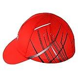 HYSENM Radmütze Einheitsgröße Cap mit Kleinem Schirm Atmungsaktiv für Radsport Motorrad Kappe, Rot 3