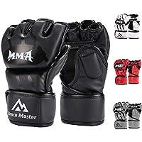Brace Master MMA UFC Handschuhe für Männer Frauen Grappling Schutz, Fingerlose Sparring Handschuhe für Training, Kampf, Muay Thai, Boxen, Boxsack, Mixed Martial Art, Schwarz, Leder, 1 Paar S M L