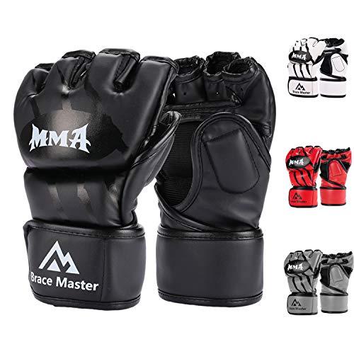 Brace Master's Gloves para MMA / UFC. Estos guantes MMA / UFC están hechos de material de cuero PU de alta calidad, que puede brindarle la mejor comodidad y protección. Con el acolchado grueso de buena calidad en la parte frontal, posterior y de la m...