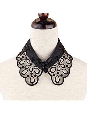 Mujeres estilo Vintage flores hueco patrón falso medio cuello de blusa camiseta camisa desmontable con bordado...