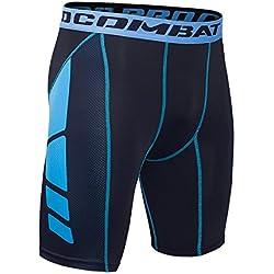 Hivexagon Pantalones Cortos de Compresión de Media Pierna para Deportes, Correr y Entrenamiento de Gimnasio SM008BUS